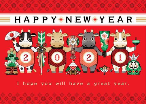 2021年丑年イラスト年賀状デザイン「牛と日本の縁起物和風赤色背景」HAPPY NEW YEAR (year of the ox illustration new year's card greeting post card design cow and Japanese lucky charm Japanese style red background happy new year)