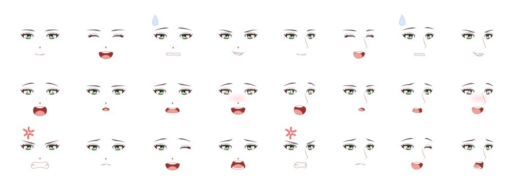 Manga male expression. Man emotions anime faces. Eyes, mouth and eyebrows japanese or korean boy characters asian style, comic people feelings symbol cartoon vector isolated collection