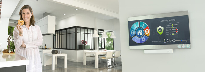 Woman snacking on a home automated modern interior Wall mural