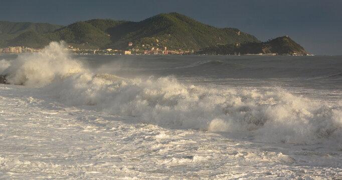Summer sea storm. Lavagna. Tigullio gulf. Liguria. Italy