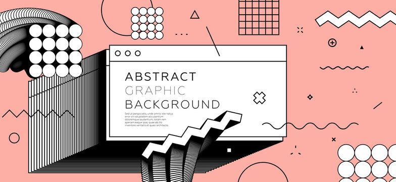 Placard template with abstract geometric shapes, 80s Memphis bright style flat design elements, Retro art for covers, banners, flyers and posters, Eps10 vector illustrations