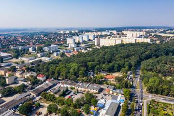 Panorama miasta Gorzów Wielkopolski, widok z lotu ptaka w tle osiedle Staszica, Polska