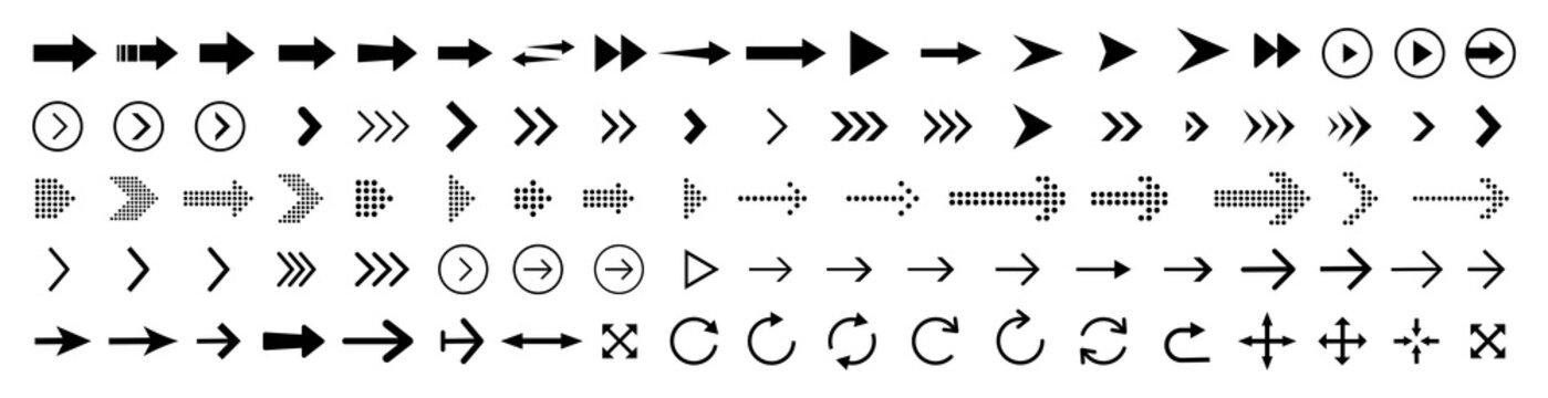 Arrows set of black icons. Arrow icon vector illustration. Various arrows isolated with the ability to change the thickness and dimensions of the arrow elements. Vector illustration