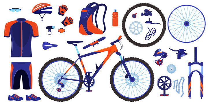 Bike bicycle vector illustration set. Cartoon flat cycle parts infographic elements collection of cyclist gear, sportswear for biker, track accessories for extreme sport training isolated on white
