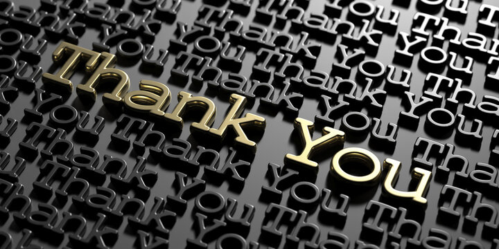 Thank you word cloud, text gold and black keywords on black background. 3D illustration