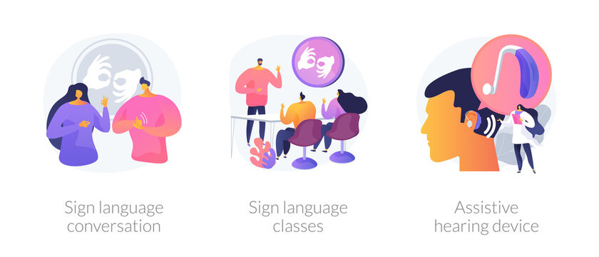 Disability communication abstract concept vector illustration set. Sign language conversation, silent speech classes, assistive hearing device, hand alphabet, deaf people abstract metaphor.