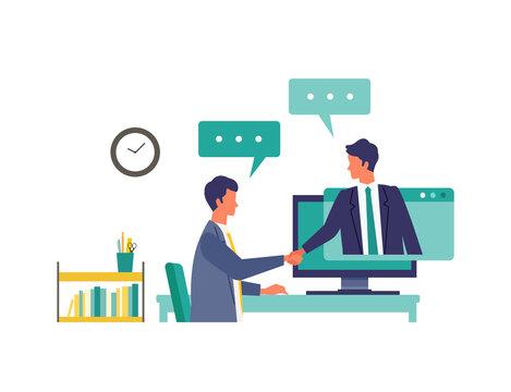 Online business talk concept. Vector illustration of people having communication via telecommuting system. Concept for Business talk.