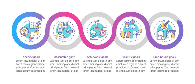 Smart goals definition vector infographic template. Team cooperation advices presentation design elements. Data visualization with 5 steps. Process timeline chart. Workflow layout with linear icons