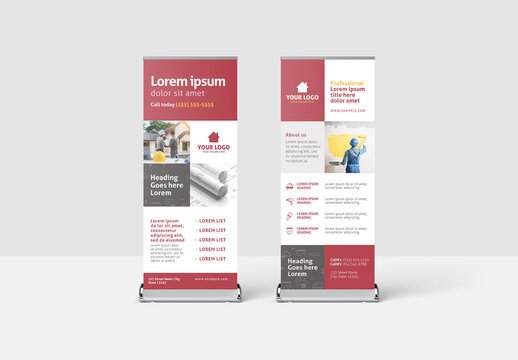 Red Roll Up Banner for Construction Professionals and Building Services