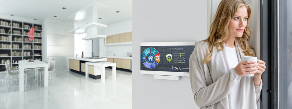 Woman on Cozy automated modern interior