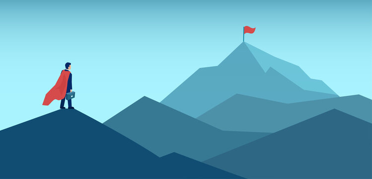 Vector of an ambitious businessman looking at the top of the mountain with red flag