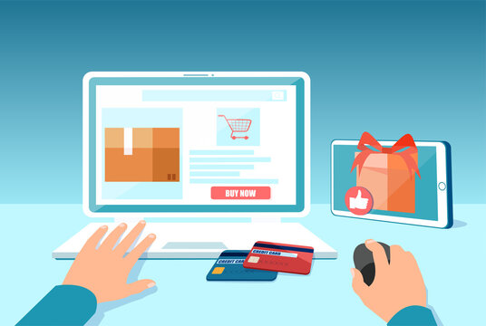 Vector of a man shopping online and and making orders using a laptop