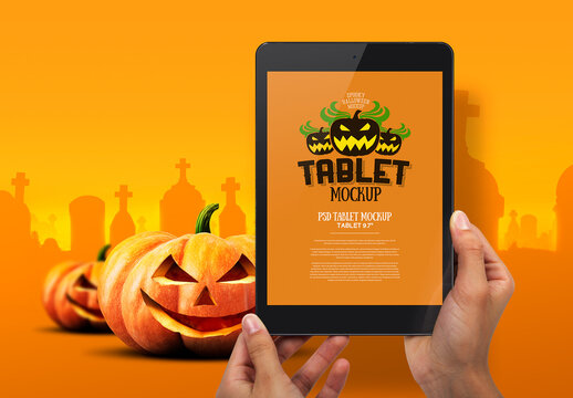 Halloween Mockup Hands Holding Tablet