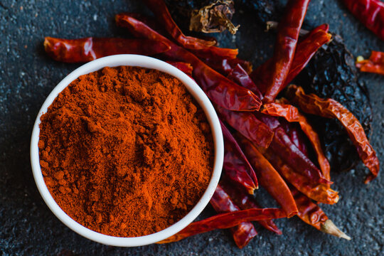 Cayenne and chili pepper close-up. Chile ancho is a variety of dried chili peppers