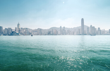 Fototapete - sunny Hong Kong harbour, China