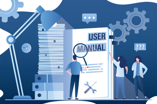 User manual concept banner. Business People reading guide instruction or textbook. Office paperwork. Technical instructions.