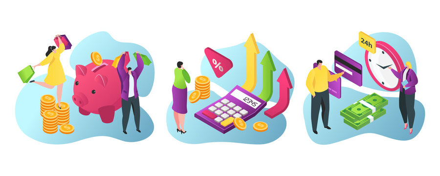 Bank services for business and finance flat vector illustration. Piggy bank savings, credits and investments, financial advisor, cashiers, atm and bank entrance. Currency exchange.