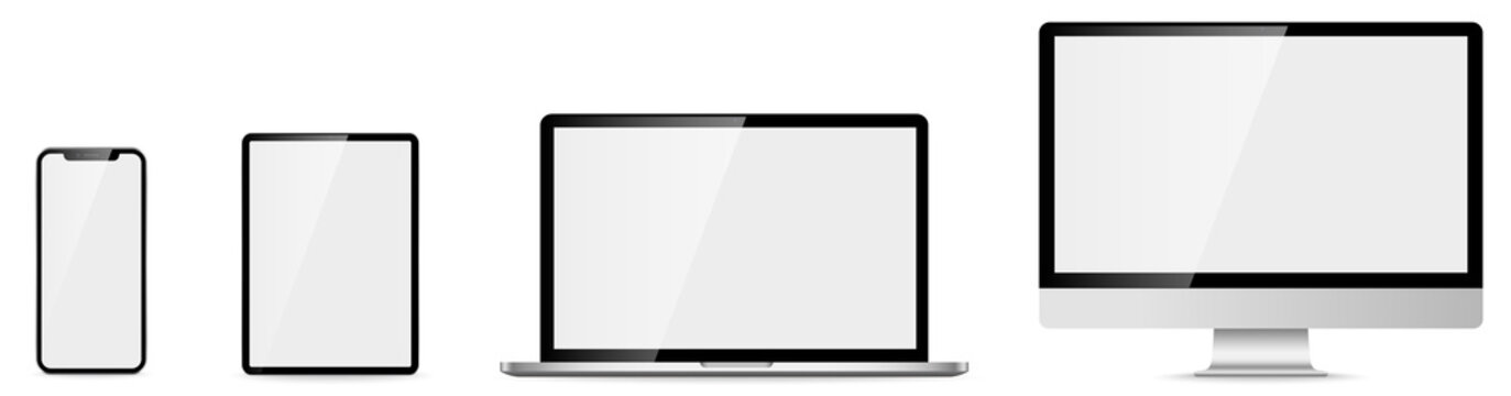 Computer, laptop, tablet, phone. Device set. Vector illustration