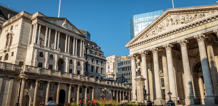 Front Entrance building facade of the Bank of England, London, UK. The central bank is responsible for setting interest rates and managing the UK economy