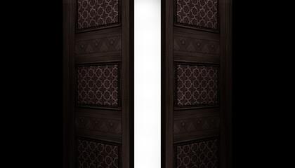 Fotomurales - Open double doors, dark brick walls, magic lights, neon lights. 3D illustration.