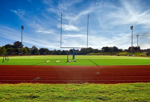 High School athletic field in strong light