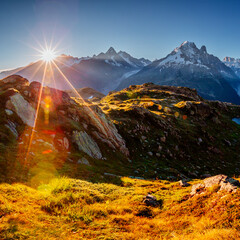 Wall Mural - View of the mighty Mont Blanc glacier.  Location Chamonix resort, Graian Alps, France, Europe.