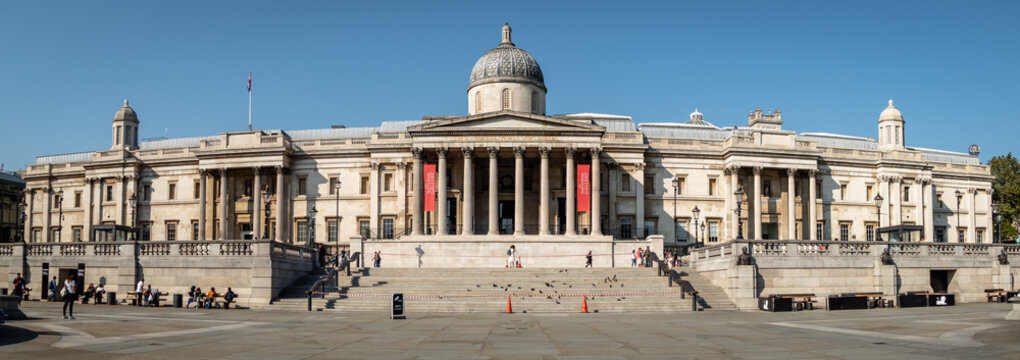 The National Gallery at Trafalgar Square, London. Empty square during a week day at Trafalgar Square during the COVID19 Coronavirus pandemic. During the weekend the square held a mass demonstration ag