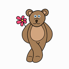 funny bear carrying a flower behind its back vector illustration