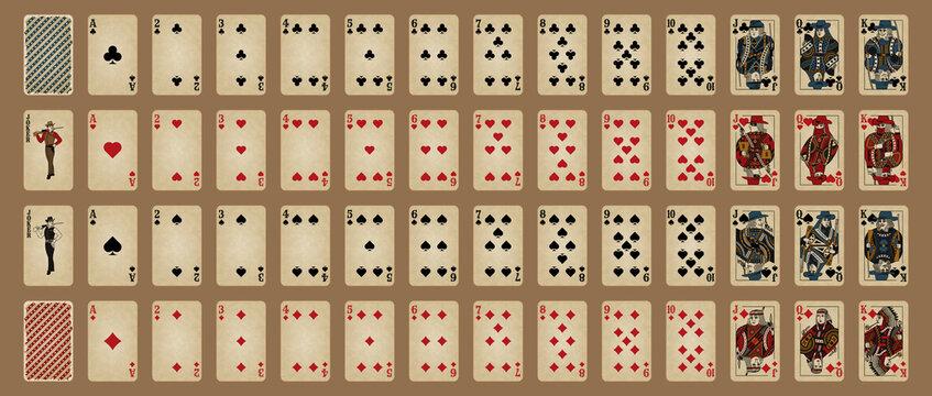 Western style poker set. Poker cards, full deck.