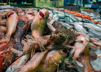 France, Herault, Sete, Halls Markets, fish market