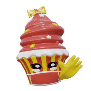 winkender Emoticon Cupcake im Kawaii-Stil mit Schutzmaske gegen Corona.