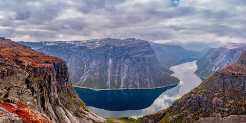 Autumn landscapes in mountains. Trolltunga , Norway