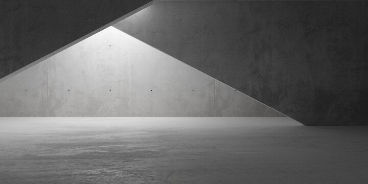 Abstract empty, modern concrete room with indirect back lighting and diagonal walls and rough floor - industrial interior background template