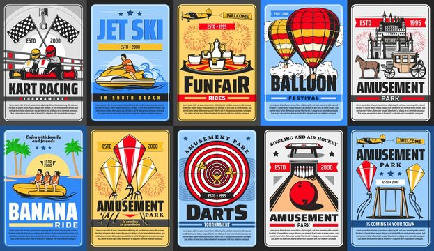 Amusement park posters, funfair rides and carousels, vector family entertainment fair. Welcome to amusement park posters, roller coaster rides, aquapark jet ski and balloon festival, bowling and darts