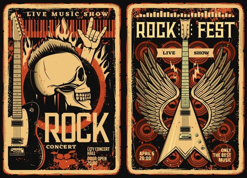 Rock fest posters and flyers, concert music band festival, vector grunge vintage skull and electric guitar with wings. Hard rock and live music concert fest show, drums and loudspeakers in fire flame