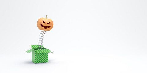 Halloween pumpkin pops out of the box isolated on white 3d render 3d illustration