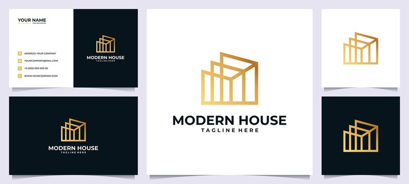 Building logo inspiration with concept line art and business card