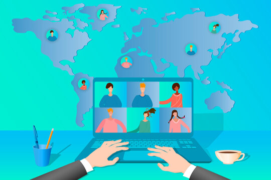 Business conference online.People communicate with each other using the Internet.Online training, remote work, freelancing.Virtual office on the background of the world map.Flat vector illustration.