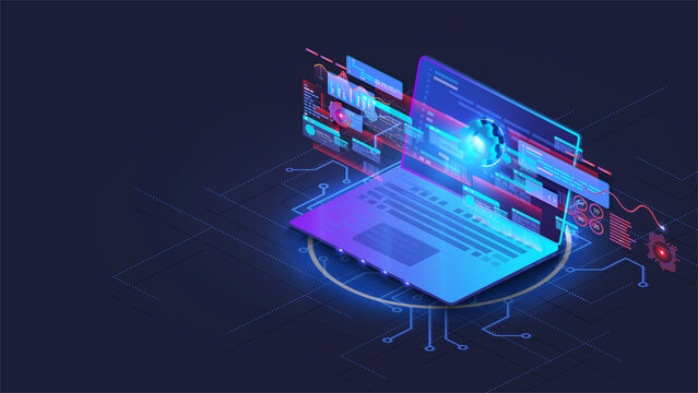 Isometric application of laptop with business graph, analytics data. Analysis trends and software development coding process concept. Adaptive interface design. Programming,testing cross platform code