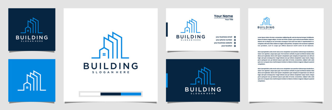 Building with line concept. city building abstract for logo inspiration. business card and letterhead