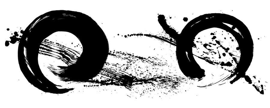 円にしぶき 墨素材 手書きの毛筆イラスト