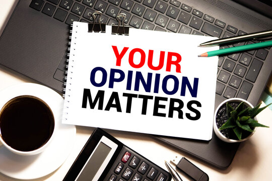 Your opinion matters text on speech bubble with businessman holding paper plane in hand on city background.