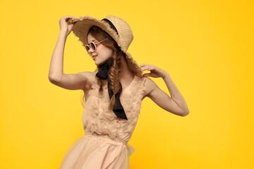 romantic girl in straw hat sunglasses model dress emotions