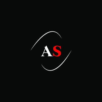 A S letter logo template design on black color background