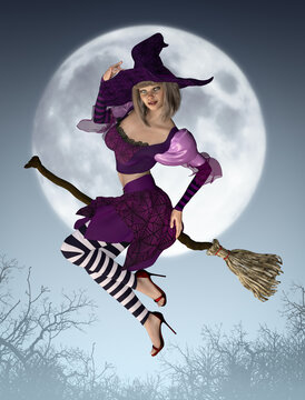 Beautiful Witch Riding Broom