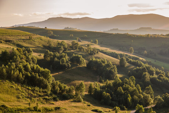 Sunset Landscape in the Apuseni Mountains.