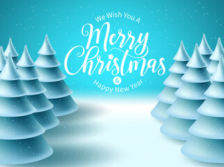 Photo sur Plexiglas Turquoise Merry christmas vector background design. Christmas greeting typography in snowy winter space for text with frozen fir tree elements for xmas holiday celebration. Vector illustration