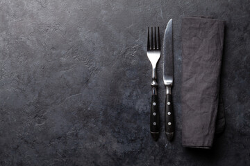 Stone table with knife and fork