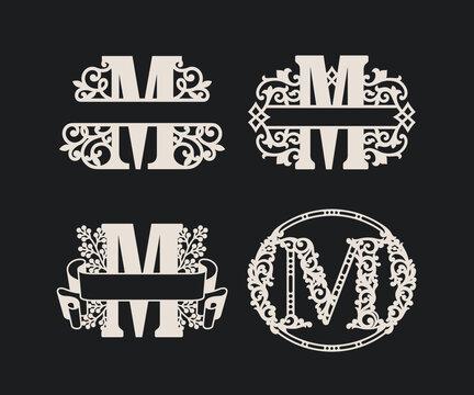 Alphabet Split Monograms,  Split Letter Monogram,  Alphabet Frame Font. Laser cut template. Initial monogram letters