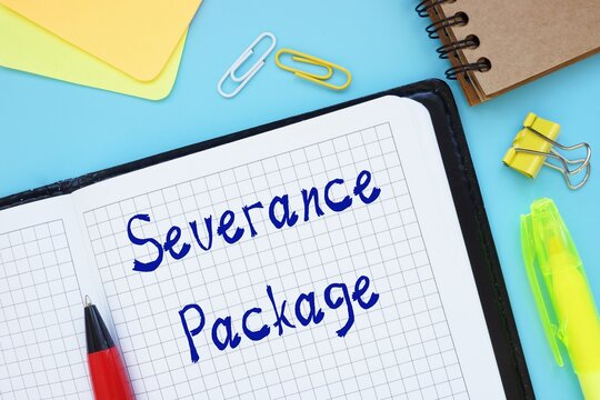 Financial concept about Severance Package with sign on the page.